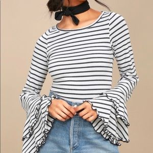 Free People striped good find bell sleeve top